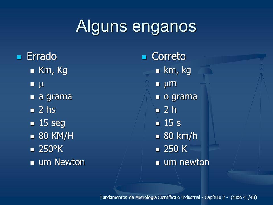 Fundamentos da Metrologia Científica e Industrial - Capítulo 2 - (slide 41/48) Alguns enganos Errado Errado Km, Kg Km, Kg a grama a grama 2 hs 2 hs 15 seg 15 seg 80 KM/H 80 KM/H 250°K 250°K um Newton um Newton Correto Correto km, kg km, kg m m o grama o grama 2 h 2 h 15 s 15 s 80 km/h 80 km/h 250 K 250 K um newton um newton