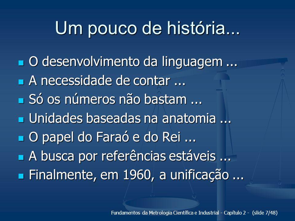 Fundamentos da Metrologia Científica e Industrial - Capítulo 2 - (slide 7/48) Um pouco de história... O desenvolvimento da linguagem... O desenvolvime