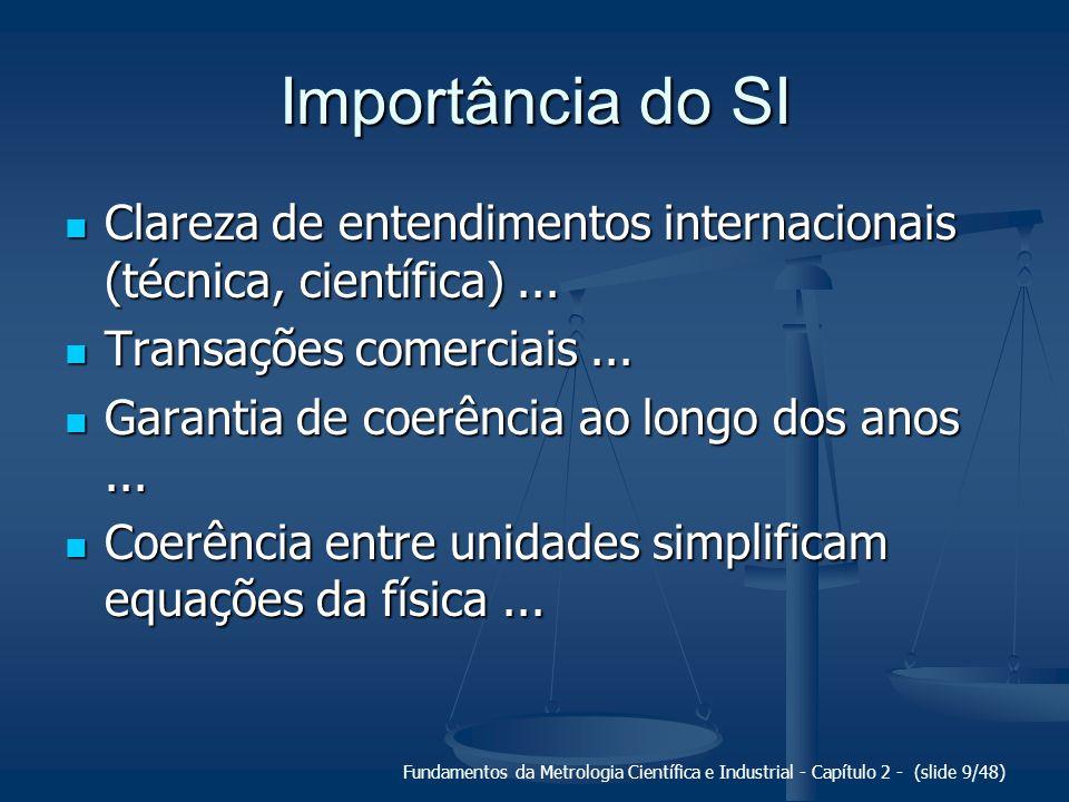 Fundamentos da Metrologia Científica e Industrial - Capítulo 2 - (slide 9/48) Importância do SI Clareza de entendimentos internacionais (técnica, científica)...