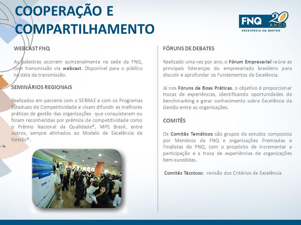 COOPERAÇÃO E COMPARTILHAMENTO WEBCAST FNQ As palestras ocorrem quinzenalmente na sede da FNQ, com transmissão via webcast. Disponível para o público n