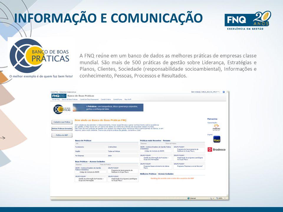 INFORMAÇÃO E COMUNICAÇÃO A FNQ reúne em um banco de dados as melhores práticas de empresas classe mundial. São mais de 500 práticas de gestão sobre Li