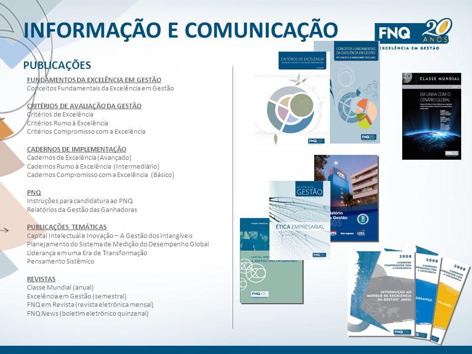 INFORMAÇÃO E COMUNICAÇÃO PUBLICAÇÕES FUNDAMENTOS DA EXCELÊNCIA EM GESTÃO Conceitos Fundamentais da Excelência em Gestão CRITÉRIOS DE AVALIAÇÃO DA GEST