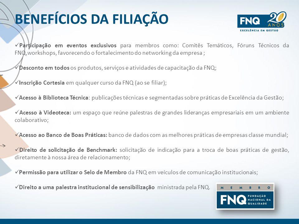 BENEFÍCIOS DA FILIAÇÃO Participação em eventos exclusivos para membros como: Comitês Temáticos, Fóruns Técnicos da FNQ,workshops, favorecendo o fortal