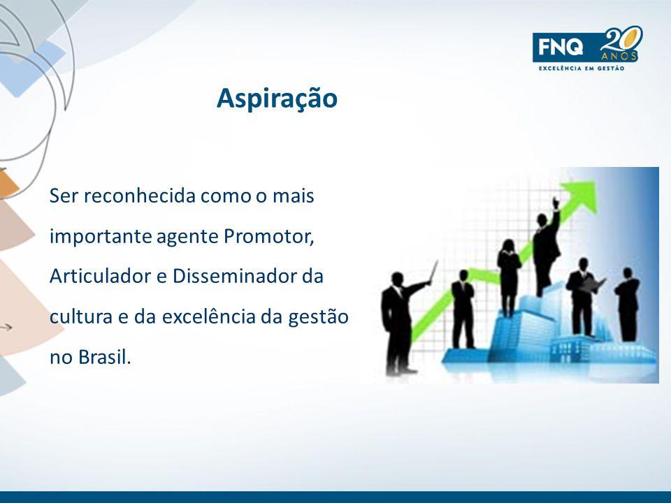 Aspiração Ser reconhecida como o mais importante agente Promotor, Articulador e Disseminador da cultura e da excelência da gestão no Brasil.