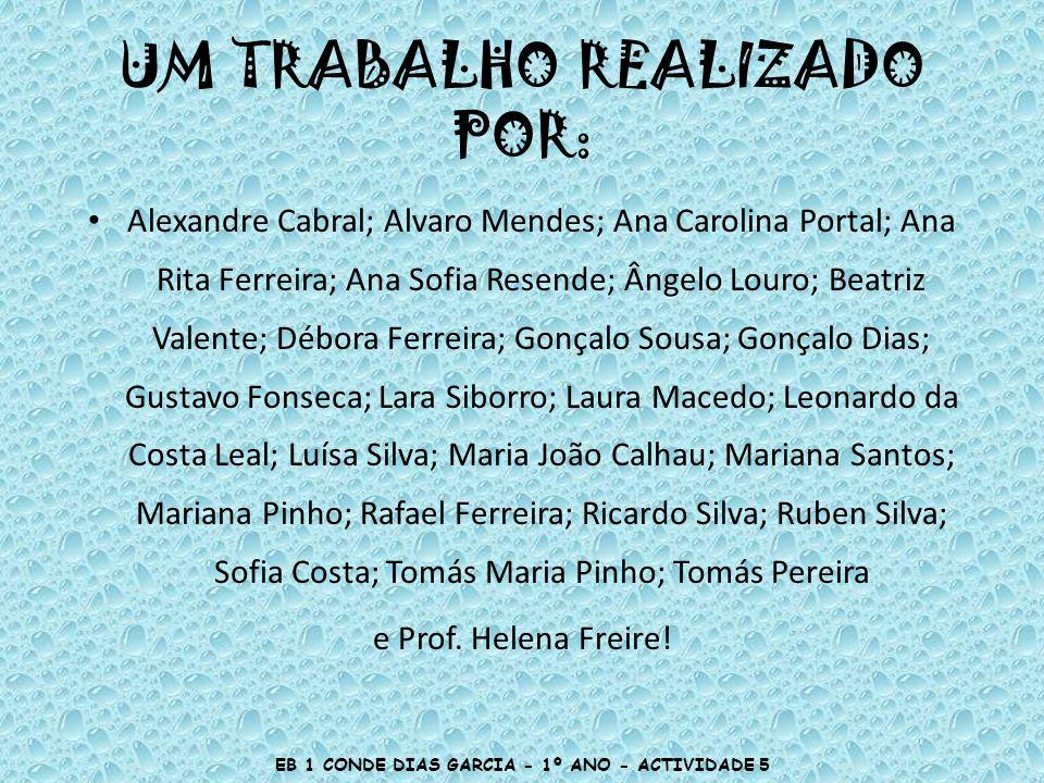 UM TRABALHO REALIZADO POR: Alexandre Cabral; Alvaro Mendes; Ana Carolina Portal; Ana Rita Ferreira; Ana Sofia Resende; Ângelo Louro; Beatriz Valente;