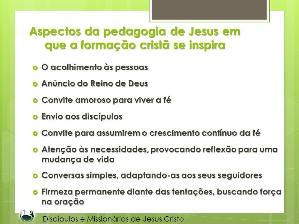 Aspectos da pedagogia de Jesus em que a formação cristã se inspira O acolhimento às pessoas O acolhimento às pessoas Discípulos e Missionários de Jesu