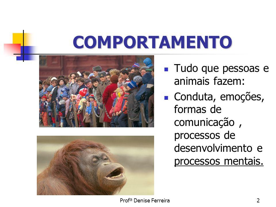 Profª Denise Ferreira2 COMPORTAMENTO Tudo que pessoas e animais fazem: Conduta, emoções, formas de comunicação, processos de desenvolvimento e process