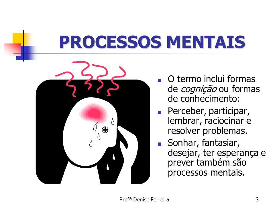 Profª Denise Ferreira3 PROCESSOS MENTAIS O termo inclui formas de cognição ou formas de conhecimento: Perceber, participar, lembrar, raciocinar e reso