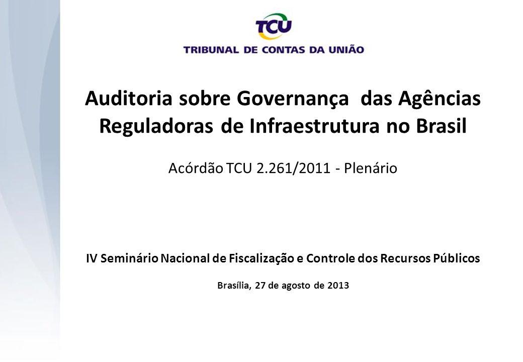 I Auditoria sobre Governança das Agências Reguladoras de Infraestrutura no Brasil Acórdão TCU 2.261/2011 - Plenário IV Seminário Nacional de Fiscaliza