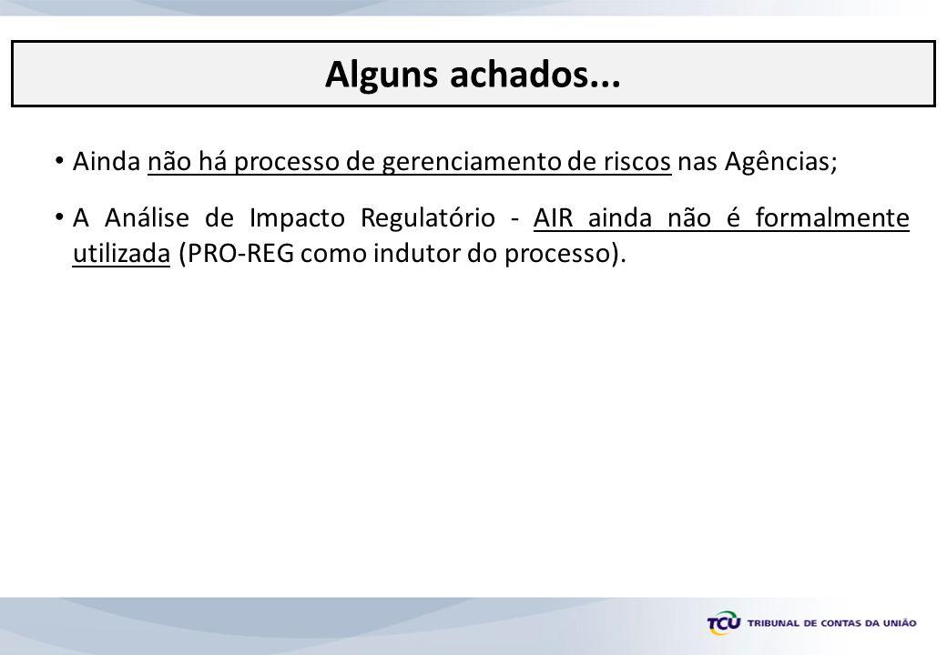 Ainda não há processo de gerenciamento de riscos nas Agências; A Análise de Impacto Regulatório - AIR ainda não é formalmente utilizada (PRO-REG como