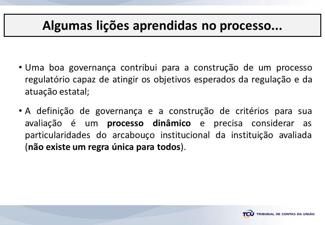 Uma boa governança contribui para a construção de um processo regulatório capaz de atingir os objetivos esperados da regulação e da atuação estatal; A