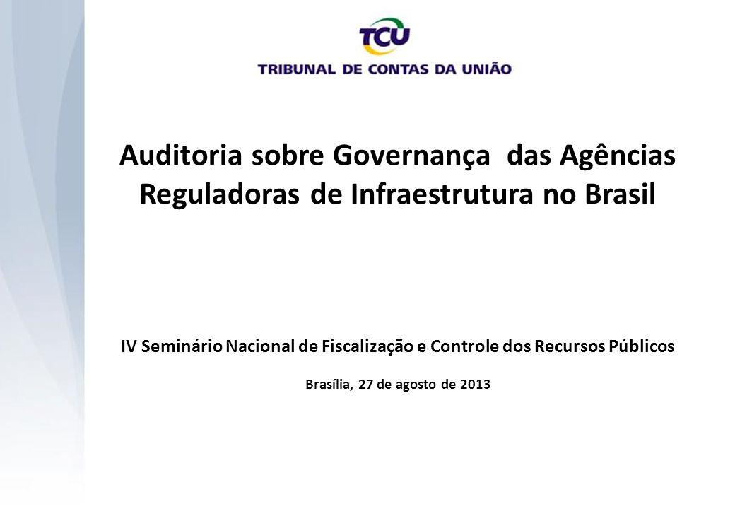 I Auditoria sobre Governança das Agências Reguladoras de Infraestrutura no Brasil IV Seminário Nacional de Fiscalização e Controle dos Recursos Públic