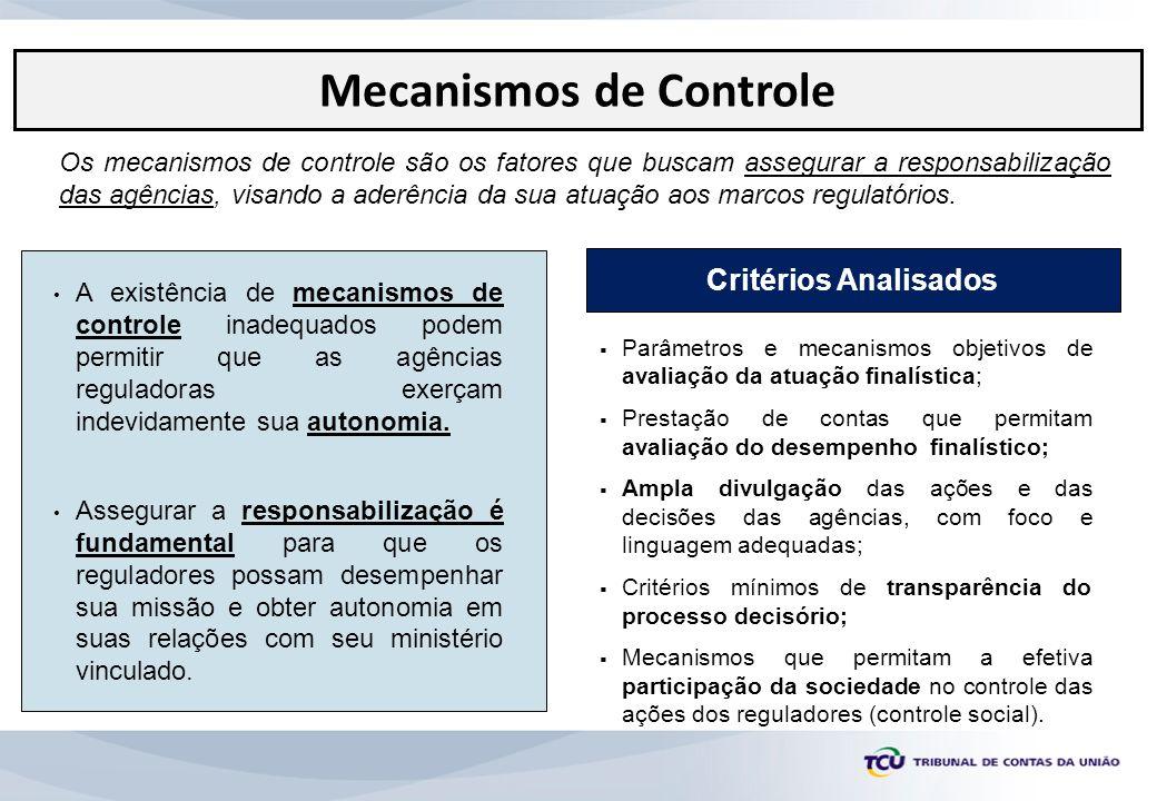 Os mecanismos de controle são os fatores que buscam assegurar a responsabilização das agências, visando a aderência da sua atuação aos marcos regulató