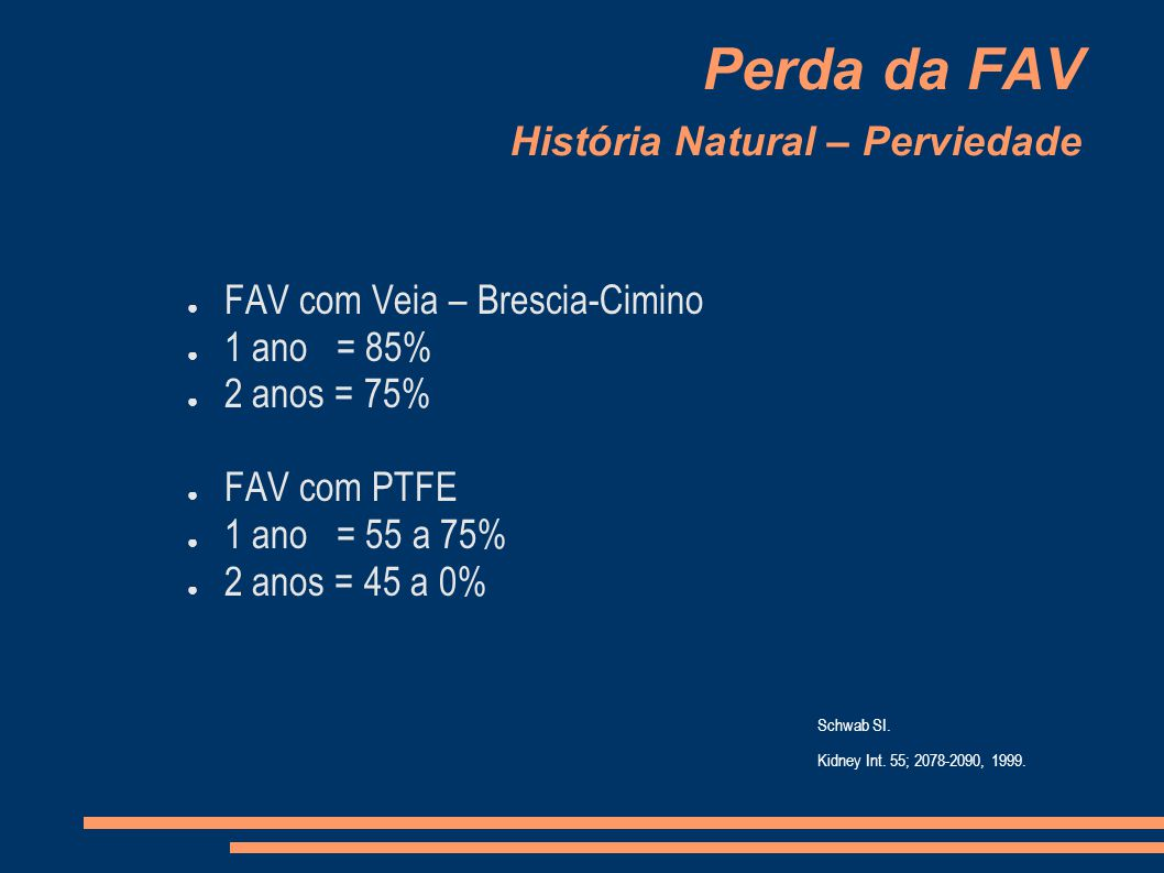 Perda da FAV História Natural – Perviedade FAV com Veia – Brescia-Cimino 1 ano = 85% 2 anos = 75% FAV com PTFE 1 ano = 55 a 75% 2 anos = 45 a 0% Schwab SI.