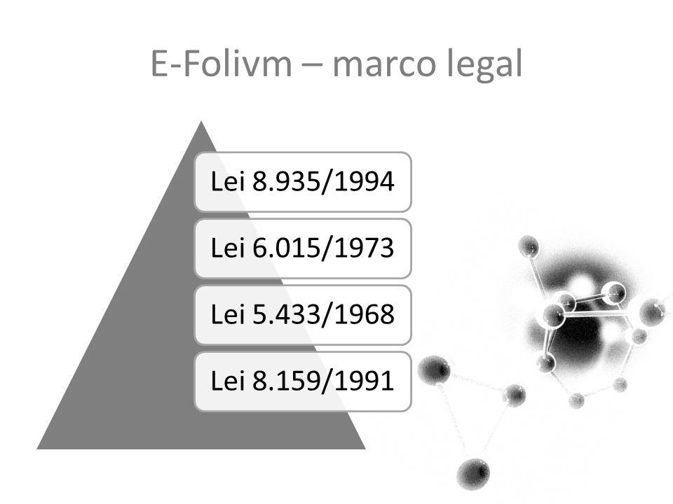 E-Folivm – marco legal Lei 8.935/1994Lei 6.015/1973Lei 5.433/1968Lei 8.159/1991