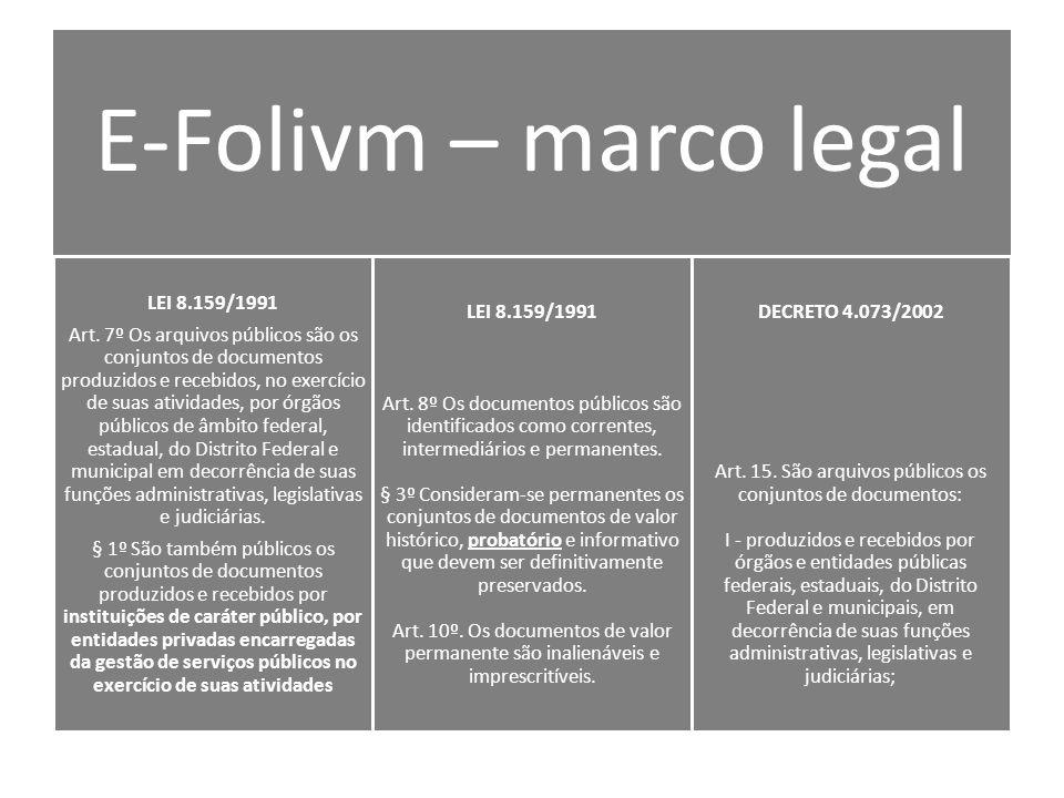 E-Folivm – marco legal LEI 8.159/1991 Art.