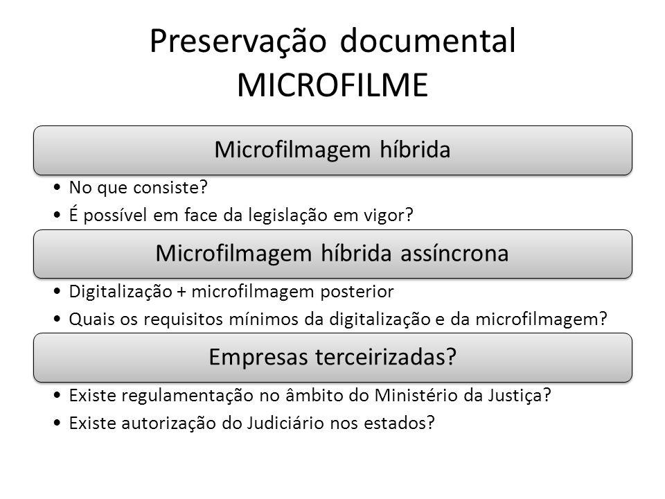 Preservação documental MICROFILME Microfilmagem híbrida No que consiste.