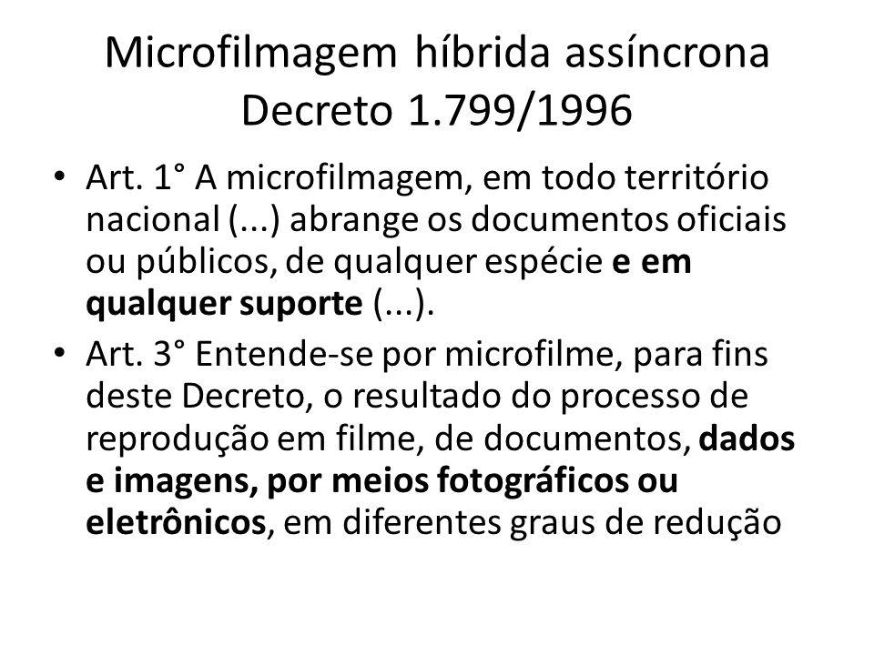 Microfilmagem híbrida assíncrona Decreto 1.799/1996 Art.
