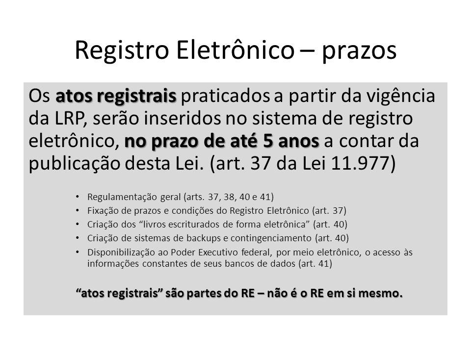 Registro Eletrônico – prazos atos registrais no prazo de até 5 anos Os atos registrais praticados a partir da vigência da LRP, serão inseridos no sistema de registro eletrônico, no prazo de até 5 anos a contar da publicação desta Lei.