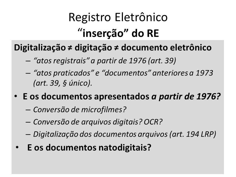 Registro Eletrônico inserção do RE Digitalização digitação documento eletrônico – atos registrais a partir de 1976 (art.