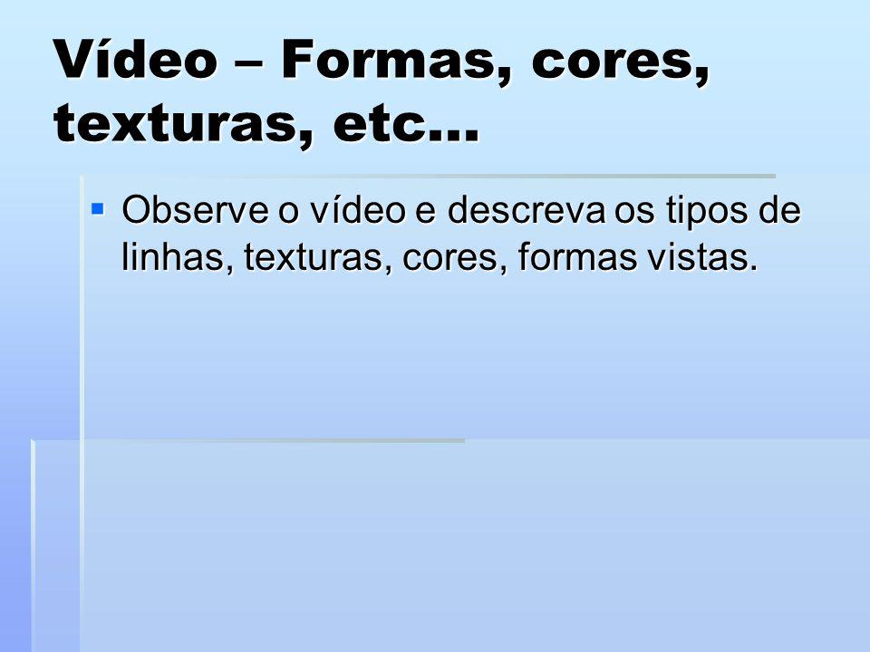 Vídeo – Formas, cores, texturas, etc... Observe o vídeo e descreva os tipos de linhas, texturas, cores, formas vistas. Observe o vídeo e descreva os t