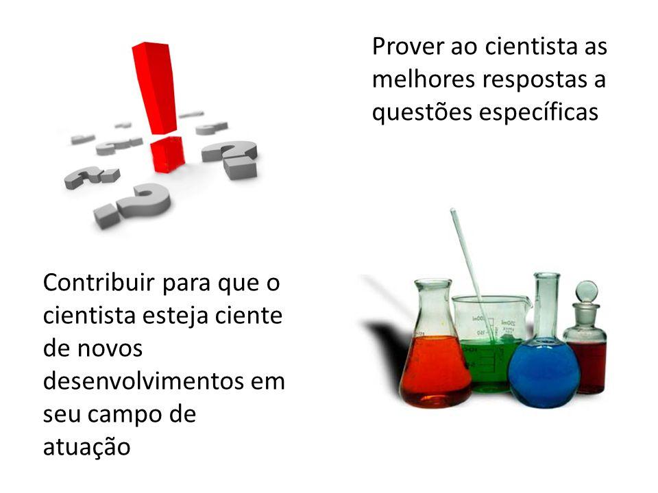 Prover ao cientista as melhores respostas a questões específicas Contribuir para que o cientista esteja ciente de novos desenvolvimentos em seu campo de atuação