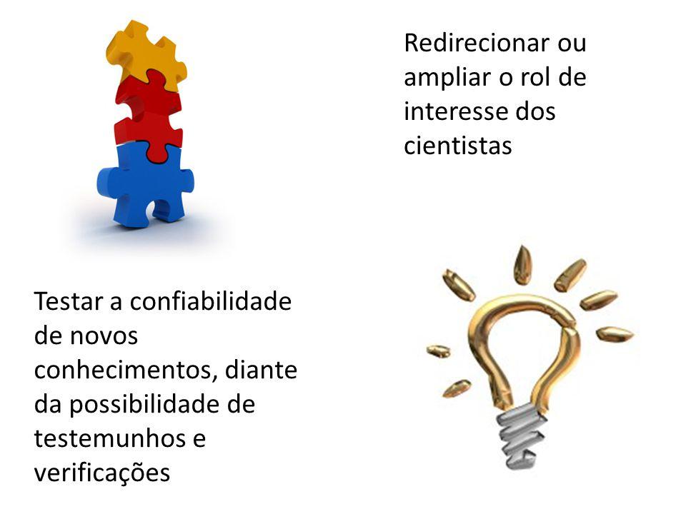 Testar a confiabilidade de novos conhecimentos, diante da possibilidade de testemunhos e verificações Redirecionar ou ampliar o rol de interesse dos cientistas