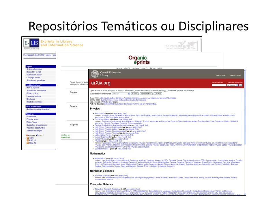 Repositórios Temáticos ou Disciplinares