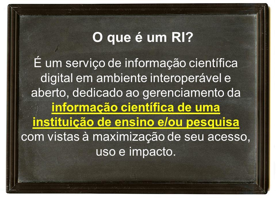 É um serviço de informação científica digital em ambiente interoperável e aberto, dedicado ao gerenciamento da informação científica de uma instituição de ensino e/ou pesquisa com vistas à maximização de seu acesso, uso e impacto.
