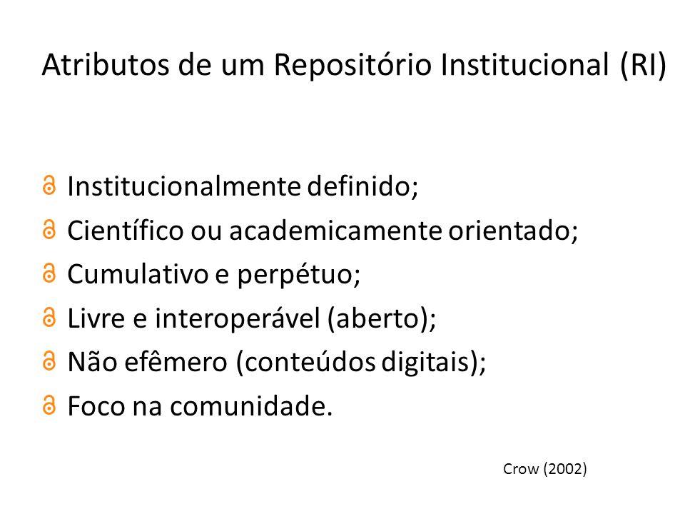 Atributos de um Repositório Institucional (RI) Institucionalmente definido; Científico ou academicamente orientado; Cumulativo e perpétuo; Livre e interoperável (aberto); Não efêmero (conteúdos digitais); Foco na comunidade.