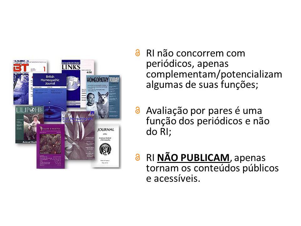 RI não concorrem com periódicos, apenas complementam/potencializam algumas de suas funções; Avaliação por pares é uma função dos periódicos e não do RI; RI NÃO PUBLICAM, apenas tornam os conteúdos públicos e acessíveis.