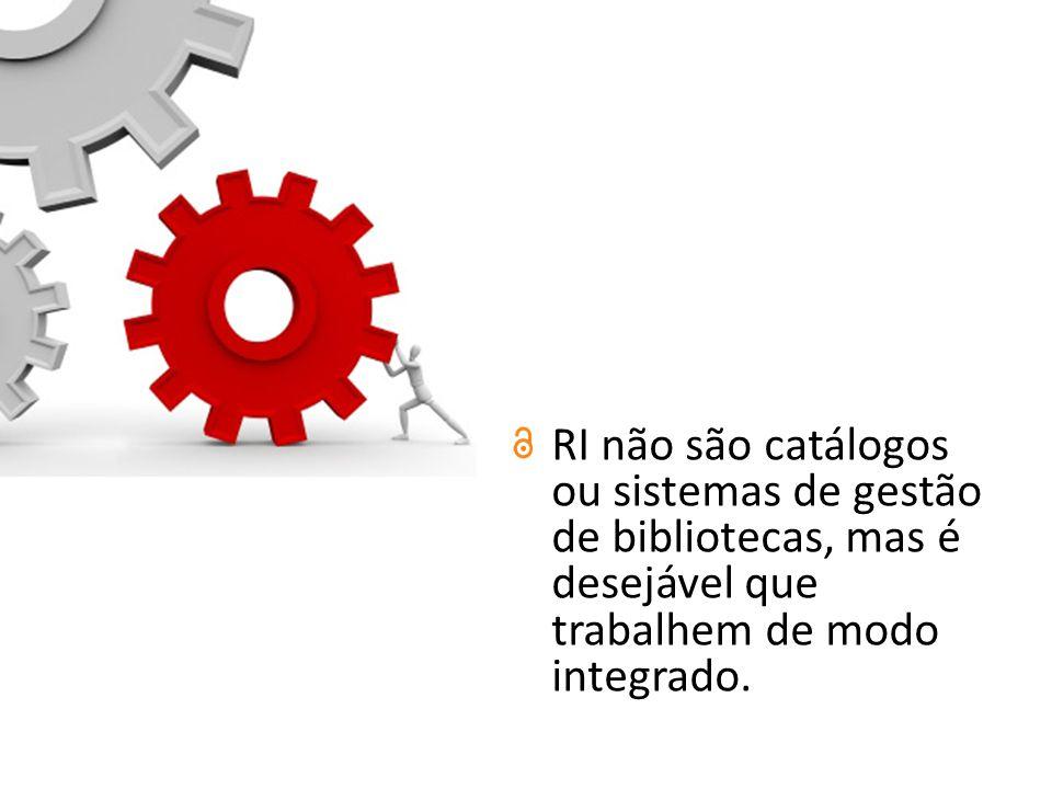RI não são catálogos ou sistemas de gestão de bibliotecas, mas é desejável que trabalhem de modo integrado.
