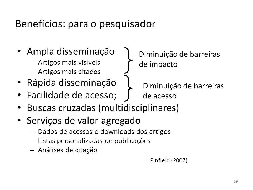 59 Benefícios: para o pesquisador Ampla disseminação – Artigos mais visíveis – Artigos mais citados Rápida disseminação Facilidade de acesso; Buscas cruzadas (multidisciplinares) Serviços de valor agregado – Dados de acessos e downloads dos artigos – Listas personalizadas de publicações – Análises de citação Diminuição de barreiras de impacto Diminuição de barreiras de acesso Pinfield (2007)