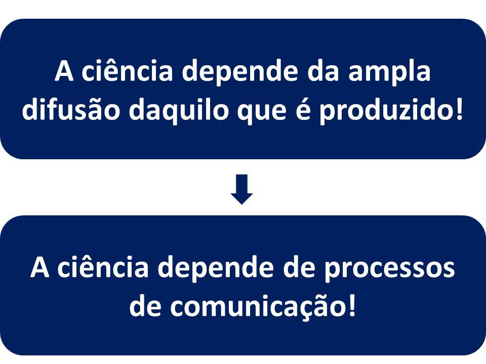 A ciência depende da ampla difusão daquilo que é produzido! A ciência depende de processos de comunicação!