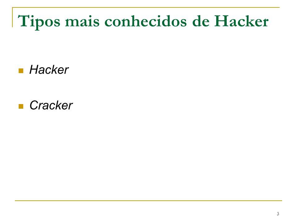 4 HACKER Aquele que já domina métodos de invasão, tem um bom conhecimento de vários sistemas, e linguagens de programação, cria programas capazes de infectar sistemas inteiros, um verdadeiro mestre do código.