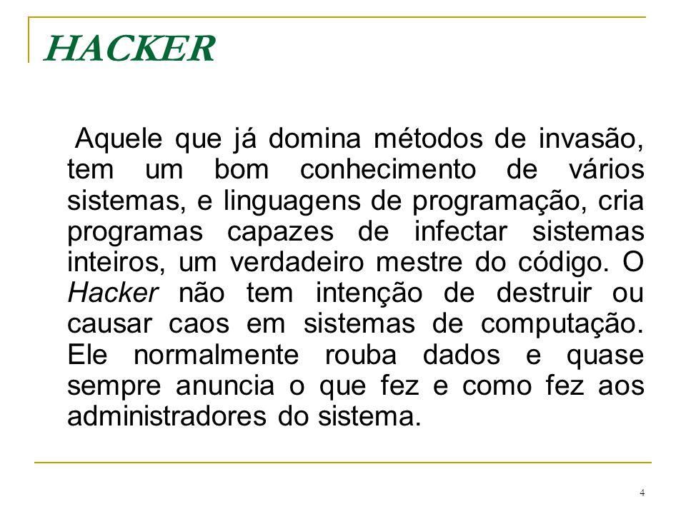 5 CRACKER A sua capacidade de conhecimento em sistemas normalmente é a mesma de um Hacker, com uma única diferença: quando ele entra em um sistema deixa vestígios não muito elegantes: recados mal-criados, destruição de parte do sistema, e até remove arquivos e dados que encontra pela frente.