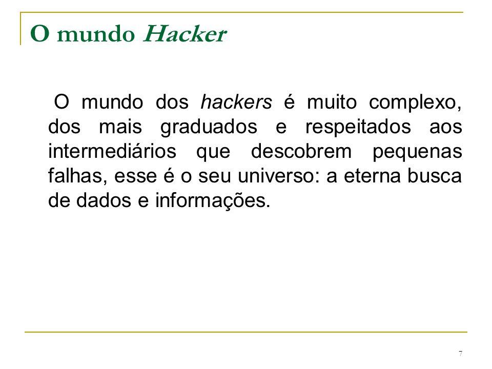 8 Motivação para ser Hacker Espionagem industrial Proveito próprio Inexperiência Vingança etc.