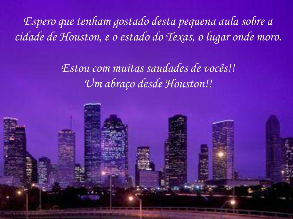 Espero que tenham gostado desta pequena aula sobre a cidade de Houston, e o estado do Texas, o lugar onde moro. Estou com muitas saudades de vocês!! U