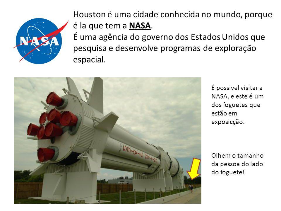 Houston é uma cidade conhecida no mundo, porque é la que tem a NASA. É uma agência do governo dos Estados Unidos que pesquisa e desenvolve programas d