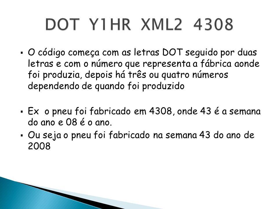 O código começa com as letras DOT seguido por duas letras e com o número que representa a fábrica aonde foi produzia, depois há três ou quatro números
