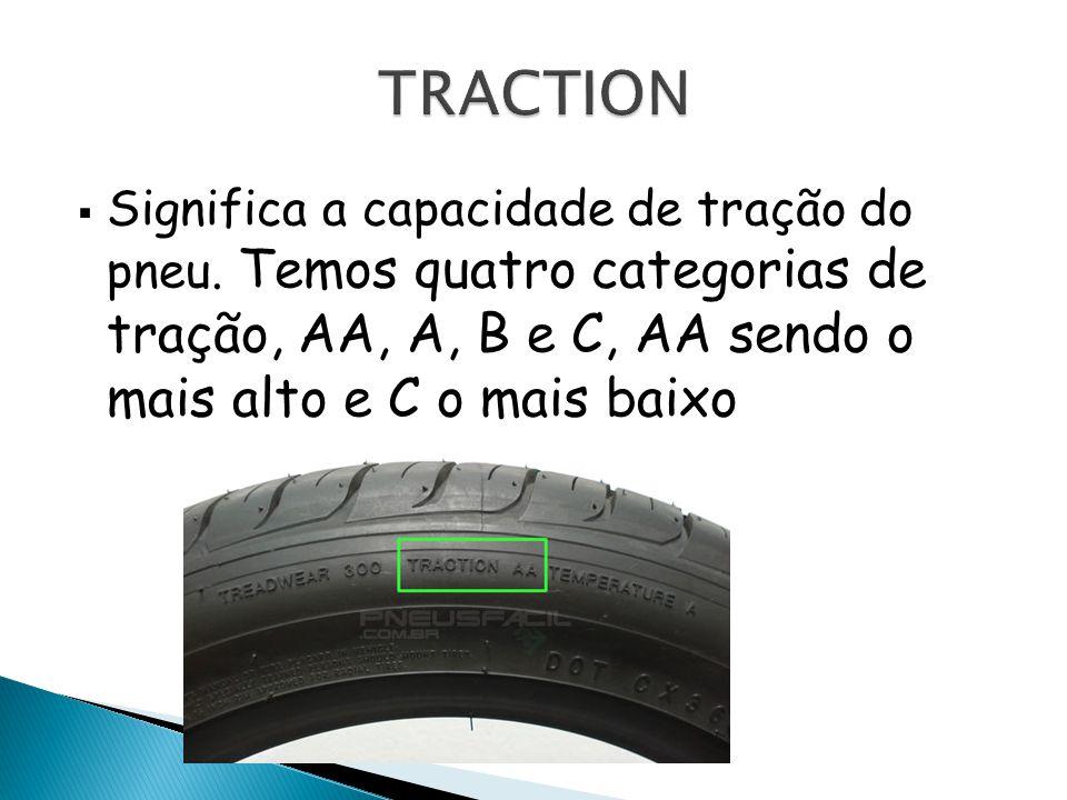 Significa a capacidade de tração do pneu. Temos quatro categorias de tração, AA, A, B e C, AA sendo o mais alto e C o mais baixo