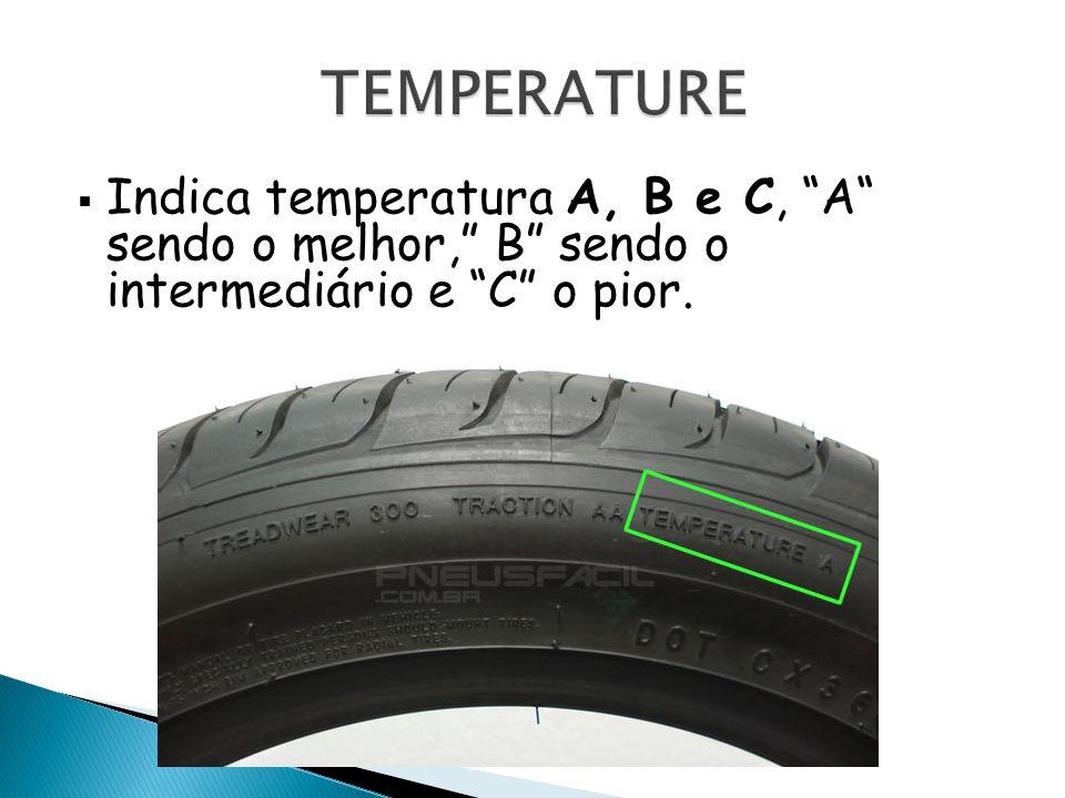 Indica temperatura A, B e C, A sendo o melhor, B sendo o intermediário e C o pior.