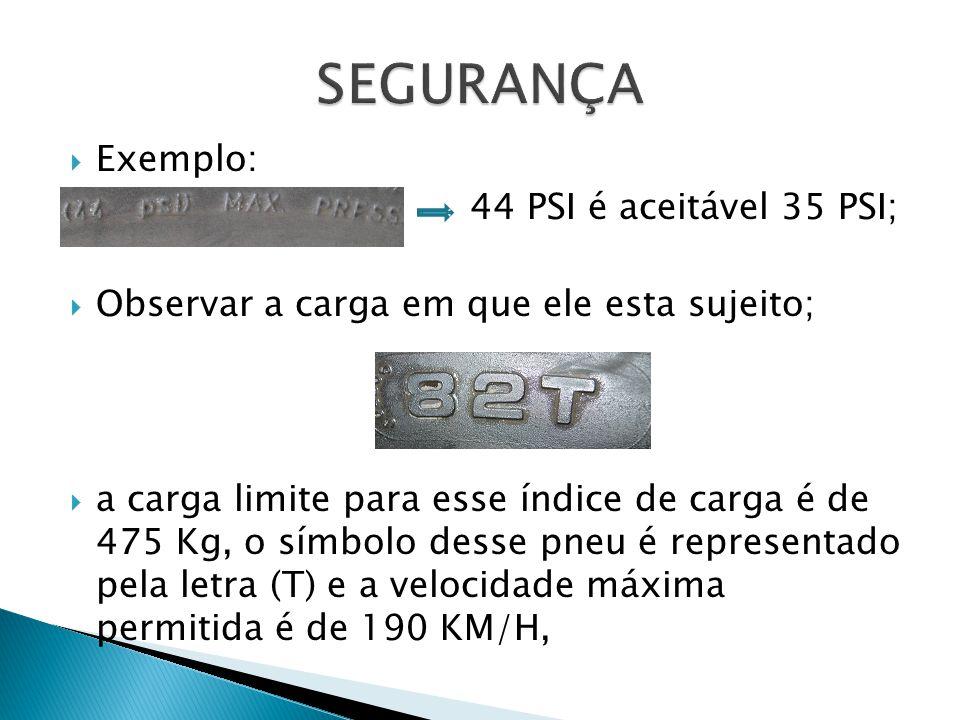 Exemplo: 44 PSI é aceitável 35 PSI; Observar a carga em que ele esta sujeito; a carga limite para esse índice de carga é de 475 Kg, o símbolo desse pn