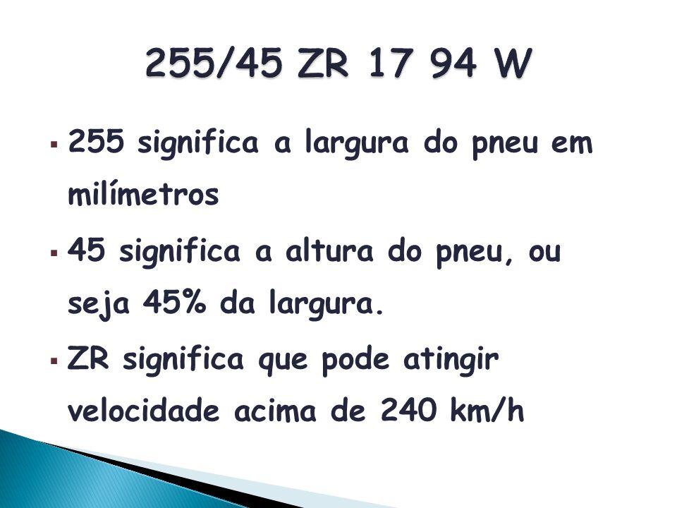 255 significa a largura do pneu em milímetros 45 significa a altura do pneu, ou seja 45% da largura. ZR significa que pode atingir velocidade acima de