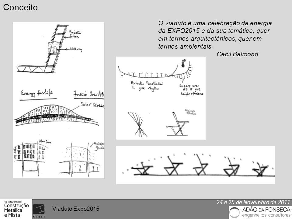 24 e 25 de Novembro de 2011 Viaduto Expo2015 Conceito O viaduto é uma celebração da energia da EXPO2015 e da sua temática, quer em termos arquitectónicos, quer em termos ambientais.