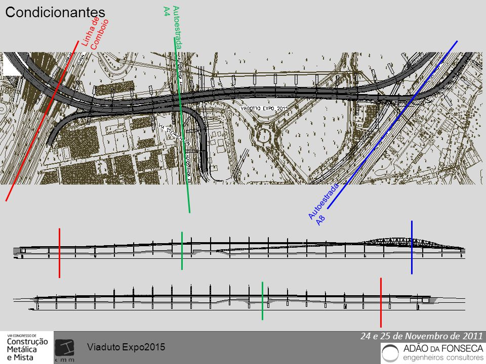 24 e 25 de Novembro de 2011 Viaduto Expo2015 Linha de Comboio Autoestrada A4 Autoestrada A8 Condicionantes