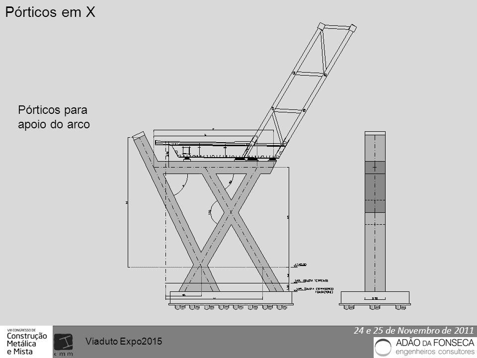 24 e 25 de Novembro de 2011 Viaduto Expo2015 Pórticos em X Pórticos para apoio do arco