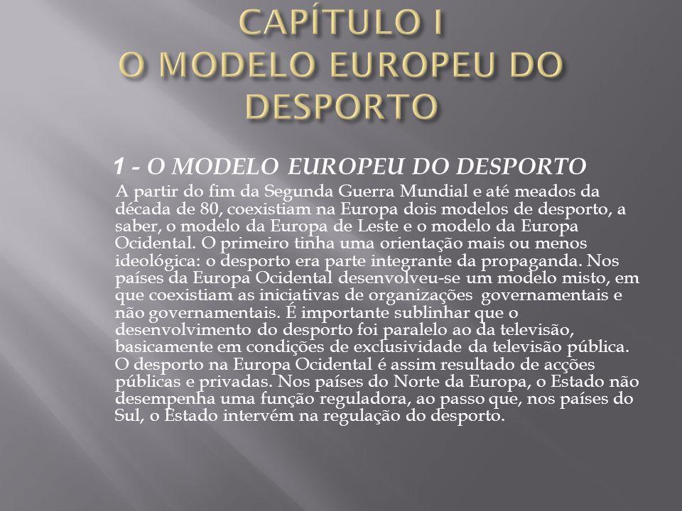 1 - O MODELO EUROPEU DO DESPORTO A partir do fim da Segunda Guerra Mundial e até meados da década de 80, coexistiam na Europa dois modelos de desporto
