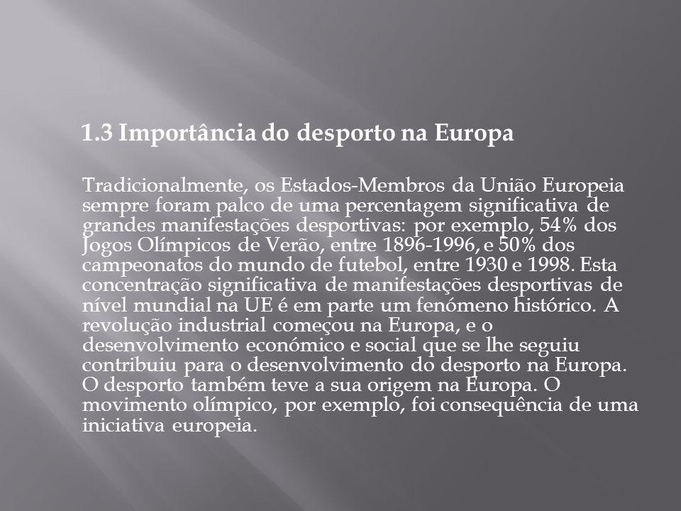 1.3 Importância do desporto na Europa Tradicionalmente, os Estados-Membros da União Europeia sempre foram palco de uma percentagem significativa de gr