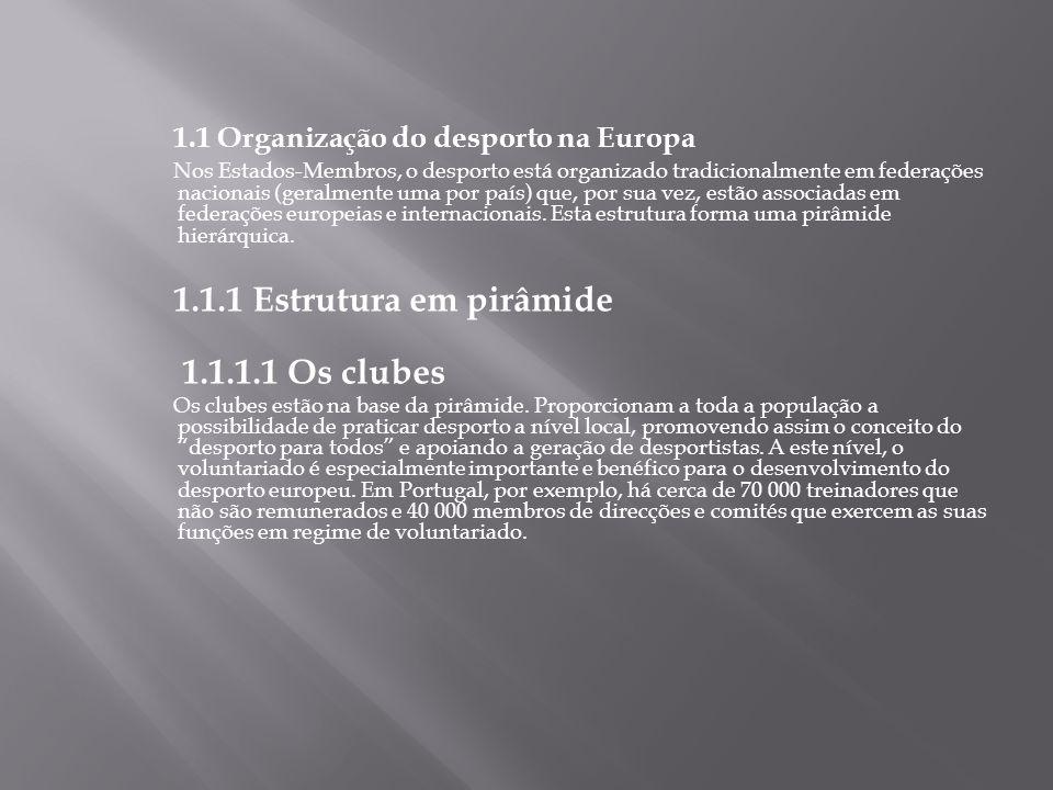 1.1 Organização do desporto na Europa Nos Estados-Membros, o desporto está organizado tradicionalmente em federações nacionais (geralmente uma por paí